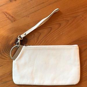 White leather wristlet bag